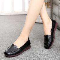 秋季新款妈妈鞋软底舒适平底中年皮鞋女中老年人女鞋奶奶单鞋