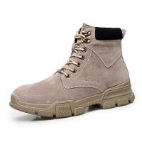 秋季马丁靴男潮英伦风中帮工装沙漠靴冬季百搭复古加绒保暖短靴子高帮棉鞋男