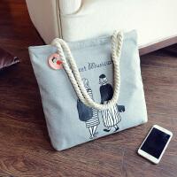 韩国帆布单肩包简约字母帆布包文艺女包可爱手提袋学生包
