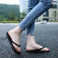 新款百搭情侣黑色人字拖女夹脚凉拖鞋男女夏外穿防滑平底跟沙滩鞋