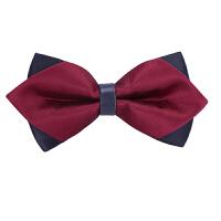 男士韩式英伦蝴蝶结领结男士伴郎新郎衬衫三角酒红色领结