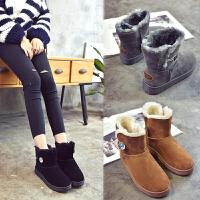 女式 新款雪地靴女冬短筒水晶纽扣短靴平底加绒女棉鞋