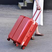 大红色行李箱女结婚箱子陪嫁箱新娘嫁妆箱婚庆拉杆箱密码登机箱20 银色铝框铝包角送红防尘罩 内外全红