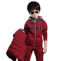 运动套装秋冬新款儿童长袖运动休闲卫衣套头衫加厚加绒三件套马甲保暖透气