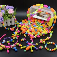 波普串串珠儿童手工diy材料包穿珠子无绳手链女孩玩具益智力项链