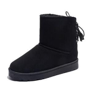 WARORWAR新品YM153-801冬季欧美磨砂反绒平底舒适女士雪地靴