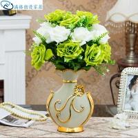 欧式摆件欧式简约客厅插花花瓶装饰创意客厅树脂样板房家居饰品办公室卧室大象模型 D款镀金 加21朵青白玫瑰花
