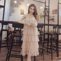 夜店女装韩版时尚甜美性感吊带层层网纱蛋糕裙度假沙滩长裙潮