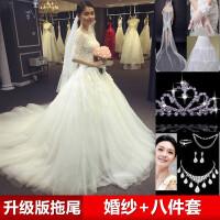 2018新款婚纱拍照礼服新款韩版一字肩长袖拖尾蕾丝修身大码显瘦齐地婚纱春