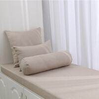 定制飘窗垫棉麻加硬厚海绵榻榻米客厅卧室飘窗垫窗台垫子