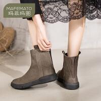 玛菲玛图靴子女2019新款真皮女鞋复古短靴学生平底马丁靴英伦风切尔西靴530-2