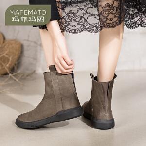 玛菲玛图靴子女 2018新款真皮女鞋复古短靴学生平底马丁靴英伦风切尔西靴530-2