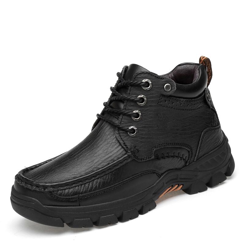 新款皮毛一体户外靴子男大码真皮纯羊毛雪地靴冬季保暖高帮棉鞋男 黑色