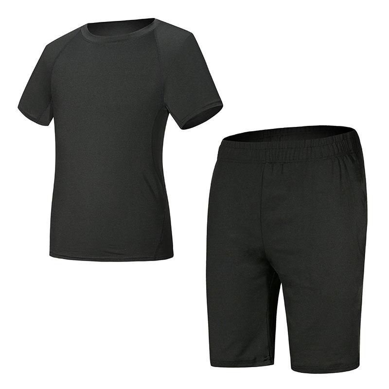 健身套装男运动跑步衣服速干紧身衣训练服2件套男士健身房健身服