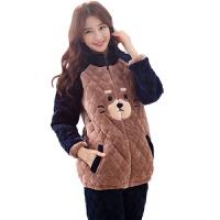 法兰绒夹棉睡衣女冬时尚拉链套装韩版女士加厚款家居服珊瑚绒棉袄