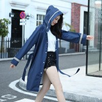 长款风衣式雨衣男女徒步单人户外加厚风衣韩国可爱时尚潮雨披 蓝色