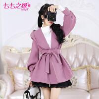 冬装新款女装 紫色灯笼长袖小个子连帽毛呢短外套