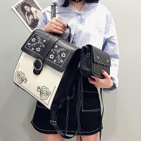 新款学院风刺绣双肩包女皮包多用中学生书包韩版小清新背包 米白色 带小包