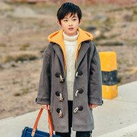 儿童童装男童2018新款冬装加厚呢子大衣假两件中长款连帽中大童韩 130cm(130 约7-8岁 尺码13