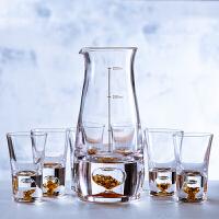 铂金白酒具水晶玻璃一口杯家用小号小酒杯烈酒杯分酒器壶礼盒套装 年货节