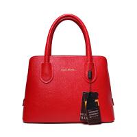 女包2018新款手提包欧美简约时尚女士单肩斜挎包女贝壳包新娘包包SN5017 红色 中号