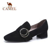 camel骆驼秋季新款高跟真皮粗跟方头鞋子女士黑色百搭气质单小皮鞋