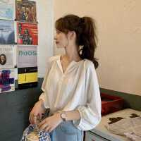 春装2020新款韩版宽松白色衬衫女设计感小众洋气少女感泡泡袖上衣