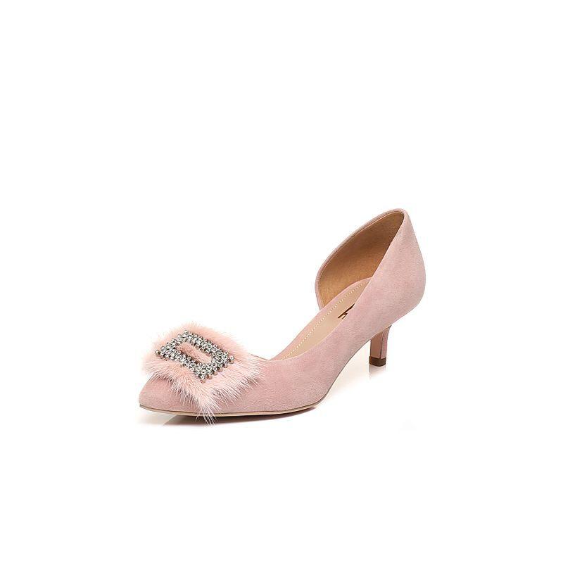 Belle/百丽2018春新品羊绒皮尖头猫跟鞋女凉鞋BSND4AK8