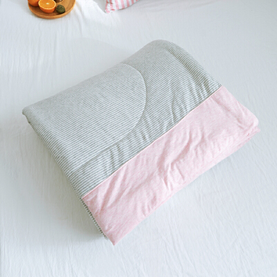 无印水洗天竺棉全棉夏被空调被夏凉被可水洗简约条纹单双人夏天薄