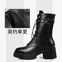 厚底马丁靴女英伦风2018新款秋冬季粗跟短靴chic高帮中筒靴子SN2515