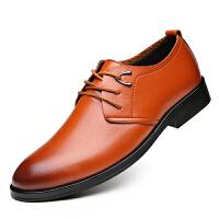 皮鞋男2018新款英伦尖头商务正装男鞋影楼拍照婚礼鞋男士休闲皮鞋 黑色-黄色