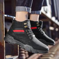马丁靴男冬季保暖加绒工装靴二棉板鞋短靴2018新款高帮英伦男鞋子