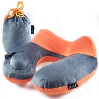 旅行护颈枕按压式充气u型枕充气旅行枕可爱午睡便携颈椎枕 橙色+深灰
