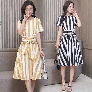 2018年夏季舒适修身纯色气质韩版简约宽松都市雪纺聚酯纤维连衣裙