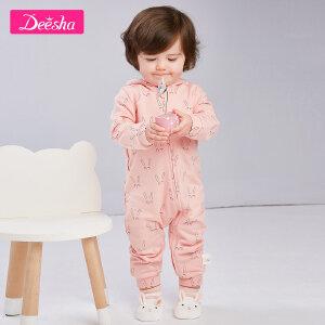 【2折价:45】笛莎婴幼儿宝宝连体外套2019春装新款儿童长袖印花连体长袖外套