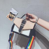 夏季小包包女2018新款撞色手提单肩包上新韩版宽带百搭斜挎小方包
