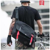 包学生户外运动背包邮差包帆布单肩包男士斜挎包街头潮流书包