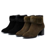 冬季新款真皮粗跟短靴时尚高跟圆头加绒女靴磨砂兔毛短筒保暖棉靴软底 军绿色 真皮+兔毛
