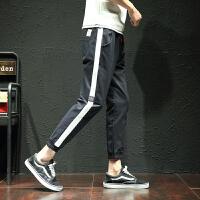 春季新款九分裤条纹拼接休闲裤大码裤子哈伦裤运动裤