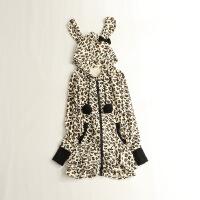 春秋女中长款天鹅绒卫衣 连帽可爱兔朵荷叶边打底外套L