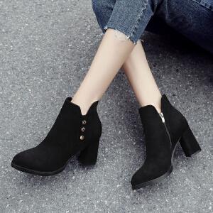ZHR2018秋冬季新款韩版粗跟裸靴高跟短靴单靴ins马丁靴百搭女靴子
