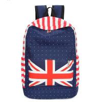 韩版米字星条双肩背包学生书包帆布女包潮流女包包s6 红色