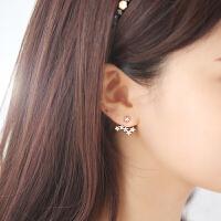 欧丁s925纯银耳钉女韩版银饰纯银针耳饰后挂式星星耳环两用礼物H012