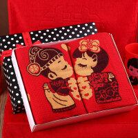 结婚用品情侣擦脸棉毛巾 大红色老公老婆毛巾婚庆回礼品