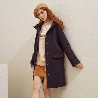 【2件1.5折�r:105】美特斯邦威呢子大衣女中�L款冬�b新款��s流行�B帽毛呢外套女士