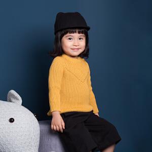 男童童装儿童毛衣秋冬小童宝宝姜黄色圆领打底衫女童套头毛衫
