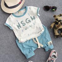 儿童套装夏季韩版潮童装 男童宝宝雨点短袖大裆哈伦中裤2件套