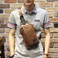 男士腰包多功能运动胸包休闲斜挎包皮包韩版潮流小包IPAD包 咖啡色