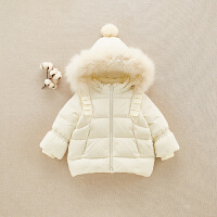 0-2岁宝宝加厚羽绒服秋冬新生儿衣服中长款外出羽绒衣韩版保暖服1