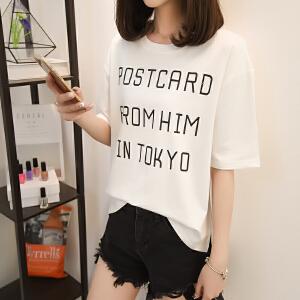 夏季新款时尚潮流百搭拼接字母圆领套头女T恤